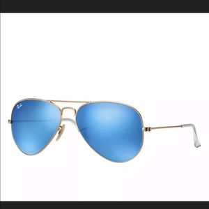 🆕 Ray Ban Aviator Blue Mirror Lenses 58mm RB3025